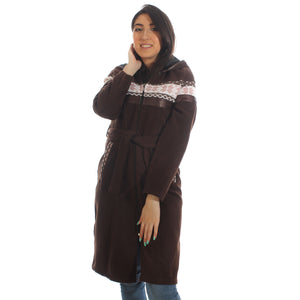 Long coat with removable hoodie/ brown -5896