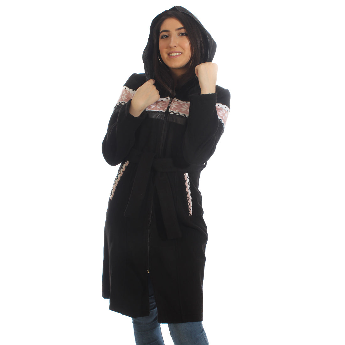 Long coat with removable hoodie/ black -5897