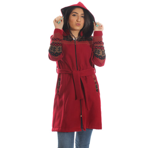 Long coat with removable hoodie/ red -5898