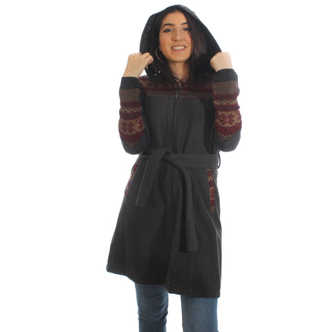 Long coat with removable hoodie/ gray -5899
