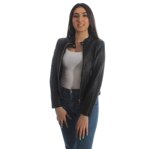 genuine leather jacket - black -5951