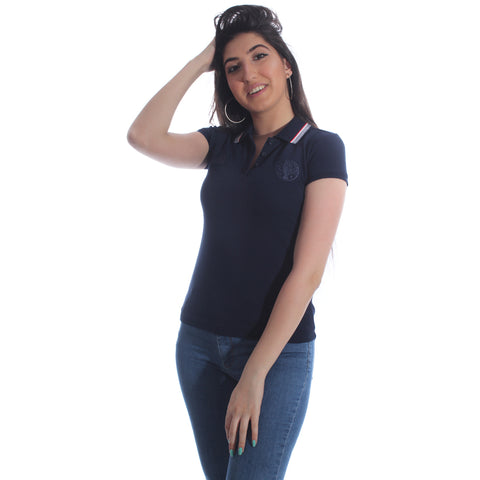 polo collar t - shirt / navy -5959