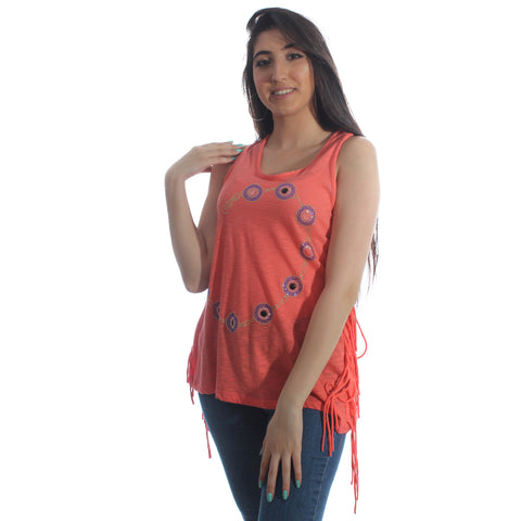 sleeveless top - orange -5957
