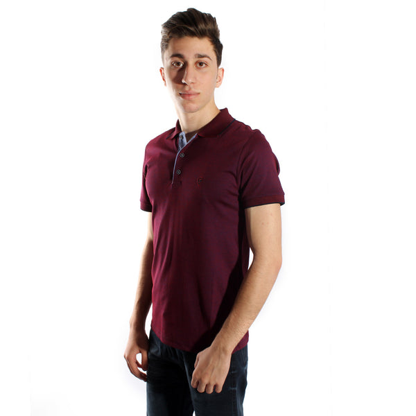 Men's polo t shirt styles- burgundy  / made in Turkey -3368