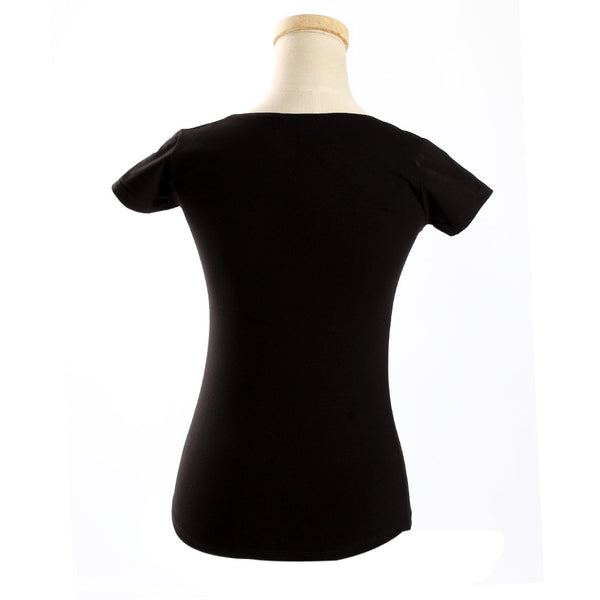 women t-shirt/ black/ cotoon + lycra/ made in Turkey 3416