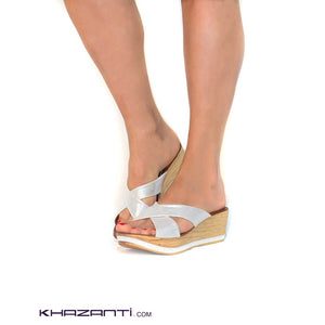 Zaynaty White Wedge Sandals -387
