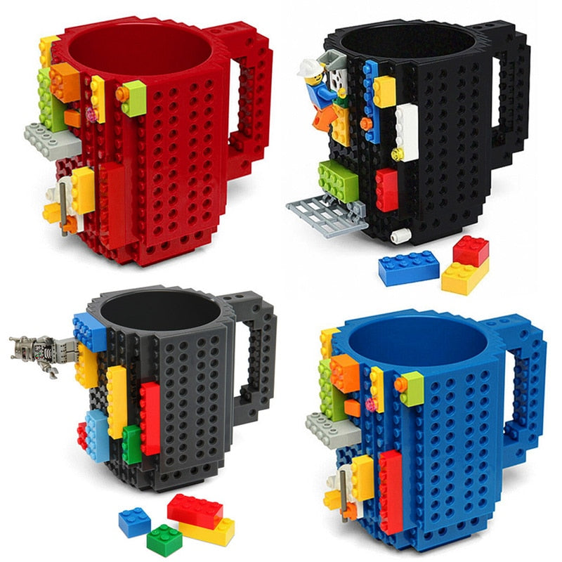 Red Black Grey Blue Plastic New For Office Awesome Cool Unique Stacking Block Coffee Tea Hot Beverage Mug Cups With Multi Color Stacking Brick Blocks