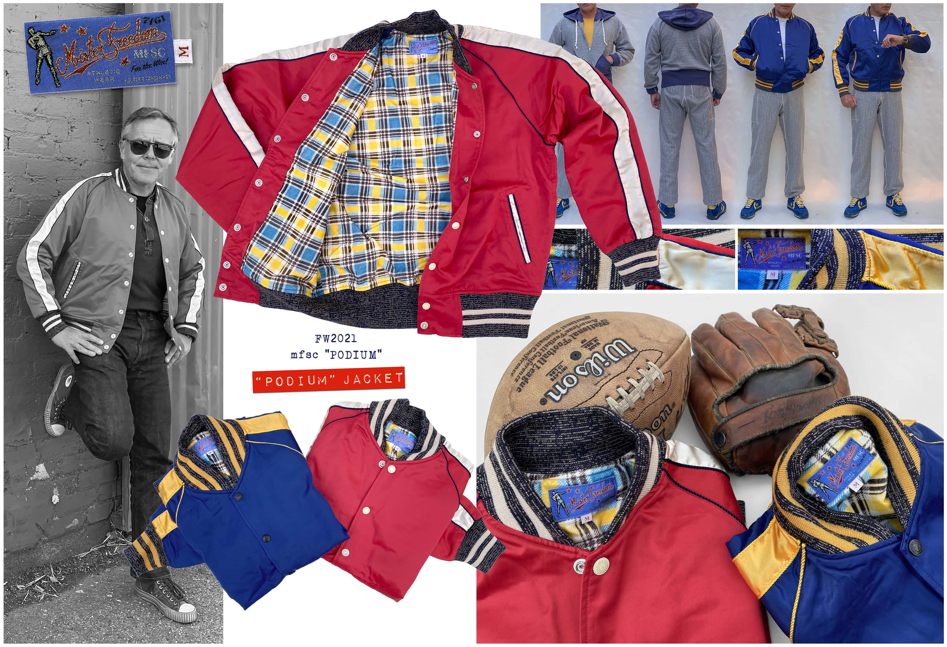 """Mister Freedom®""""Podium"""" Jacket : Cotton/rayon body, satin side out & Raglan sleeve stripe with piping."""