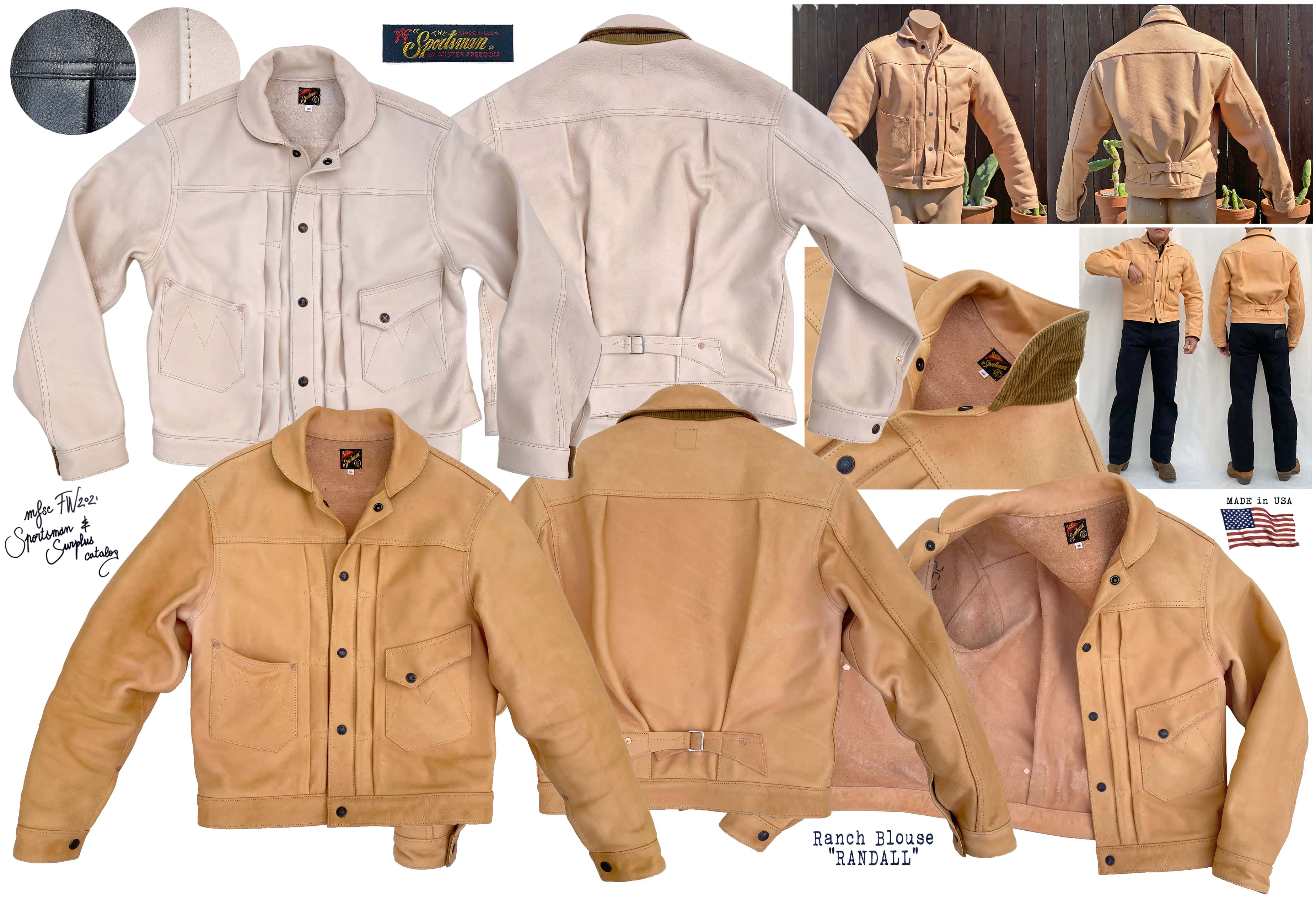 Mister Freedom®Ranch Blouse natural veg-tan leather jacket made in USA