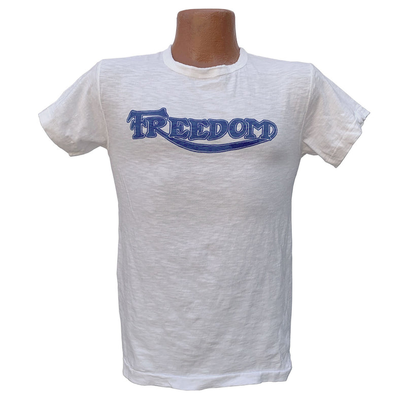 "Mister Freedom® SHOP TEE ""Freedom"" White, hand screen-printed with vintage-inspired original graphics on tubular knit jersey STANLEY T-shirts, made in USA"