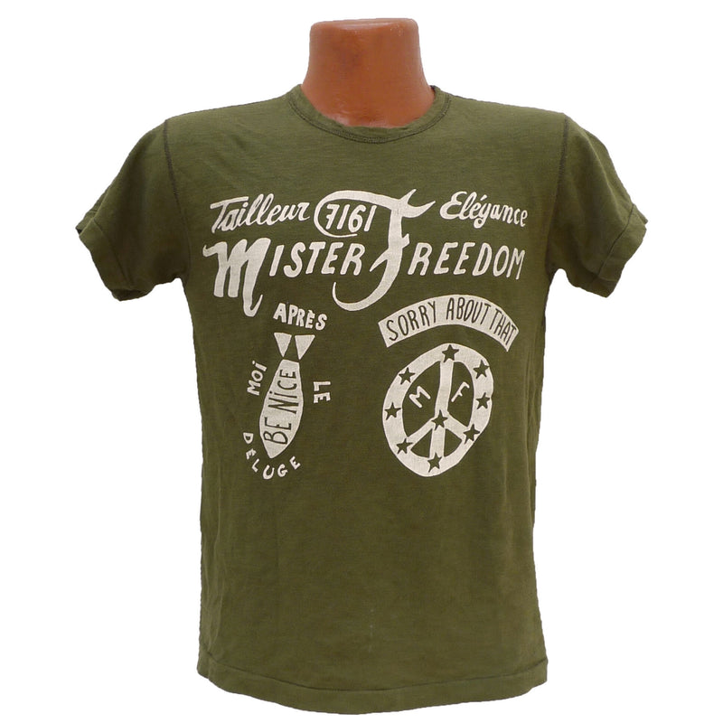 "Mister Freedom® SHOP TEE ""Saigon"" Olive, hand screen-printed with vintage-inspired original graphics on tubular knit jersey STANLEY T-shirts, made in USA"