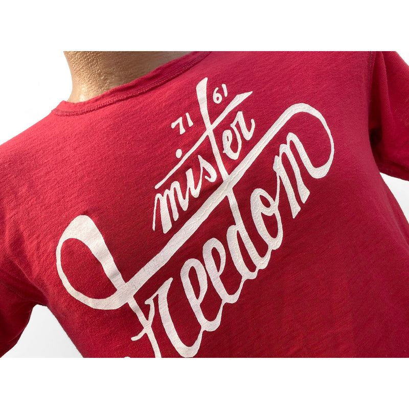 "Mister Freedom® SHOP TEE ""MF Signature"", hand screen-printed with vintage-inspired original graphics on tubular knit jersey STANLEY T-shirts, made in USA"