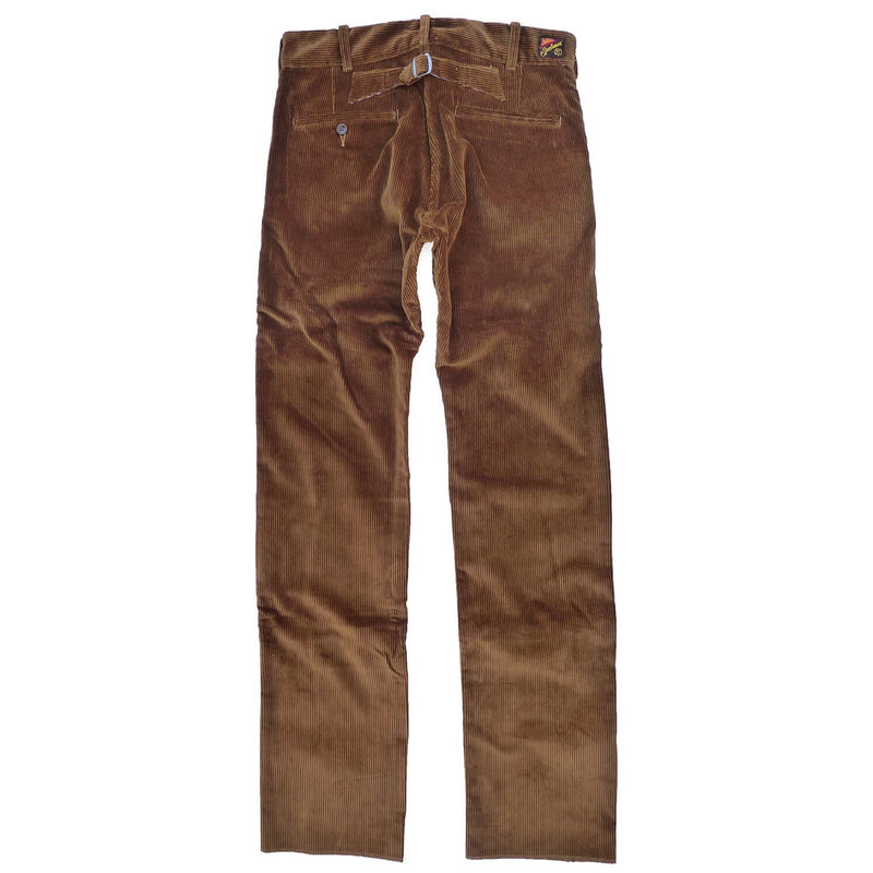"Continental Trousers Fabric: 14 Oz. Heavy wide-wale corduroy, 100% cotton, ""vintage"" cognac brown color, milled in Japan."