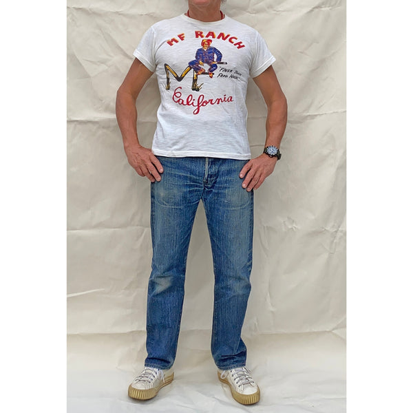 "Mister Freedom® SHOP TEE ""MF Ranch"", screen-printed with vintage-inspired graphics on 1940s and 1950s style t-shirts, made in USA"