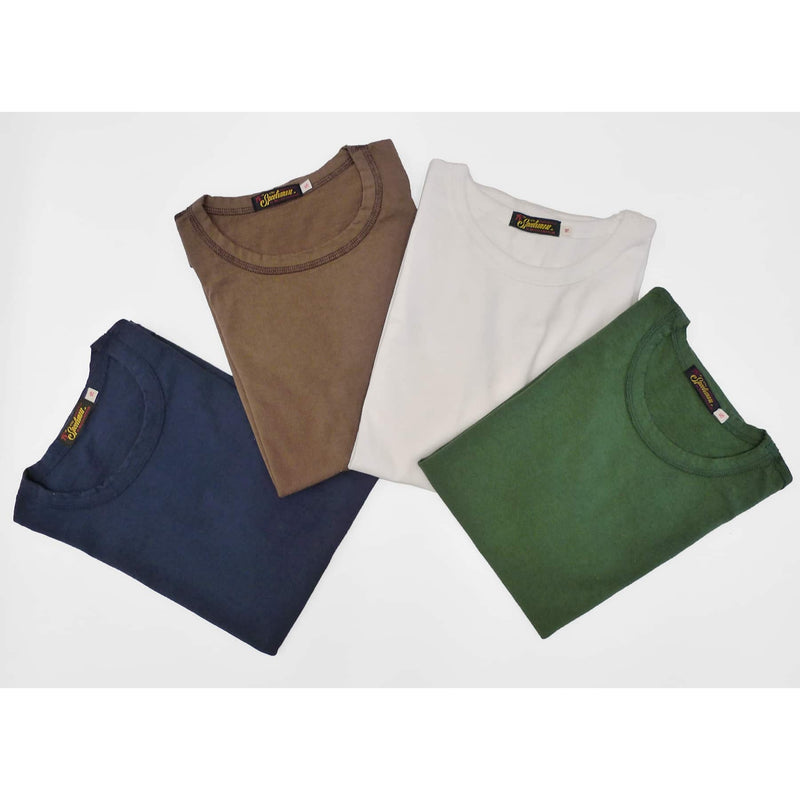 Mister Freedom® SKIVVY T-shirt, 2 Pack Box, tubular knit jersey, available in White, Navy, Sage Green, Heather Grey, and Brown 436, made in USA