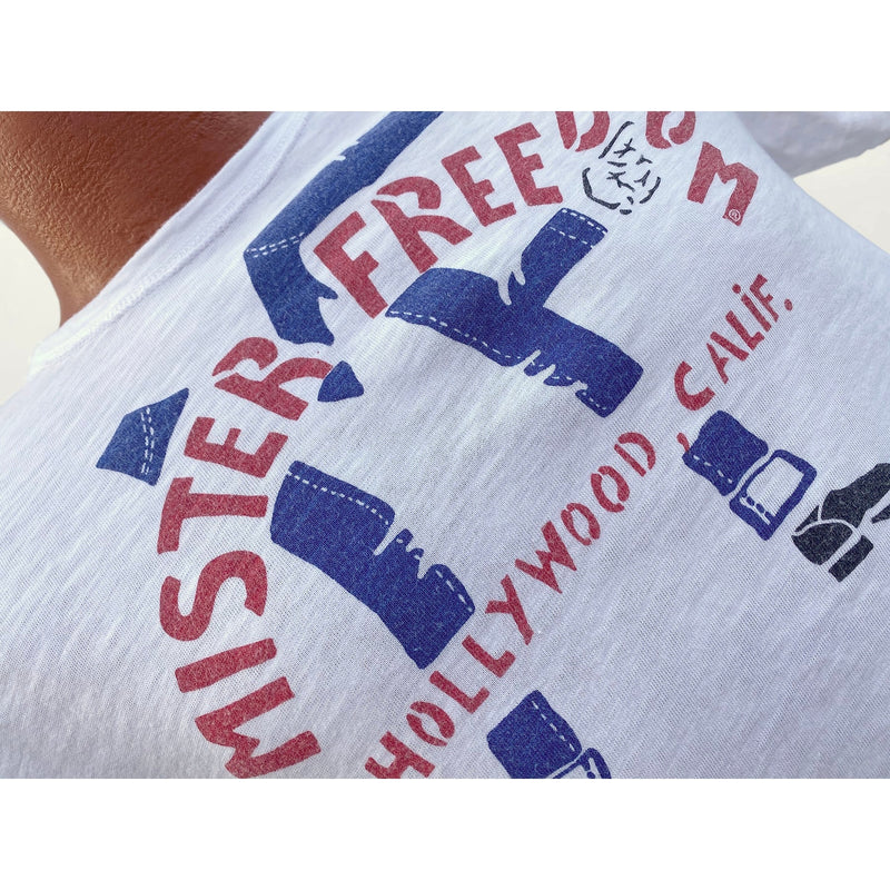 "Mister Freedom® SHOP TEE ""MF Legs"", hand screen-printed with vintage-inspired original graphics on tubular knit jersey STANLEY T-shirts, made in USA"