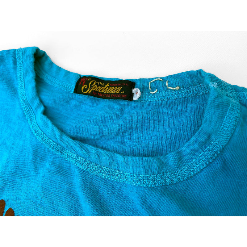 "Mister Freedom® SHOP TEE ""Skipper"" Aqua, hand screen-printed with vintage-inspired original graphics on tubular knit jersey STANLEY T-shirts, made in USA"