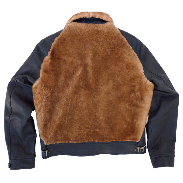 "Baloo Jacket Leather: Black vegetable-tanned ""Tea-Core"" full grain cow hide leather, black topcoat with natural-color flesh side, milled and supple, about 2-3 Oz weight. Exclusively developed for MF®. Soft-hand genuine sheepskin panels."
