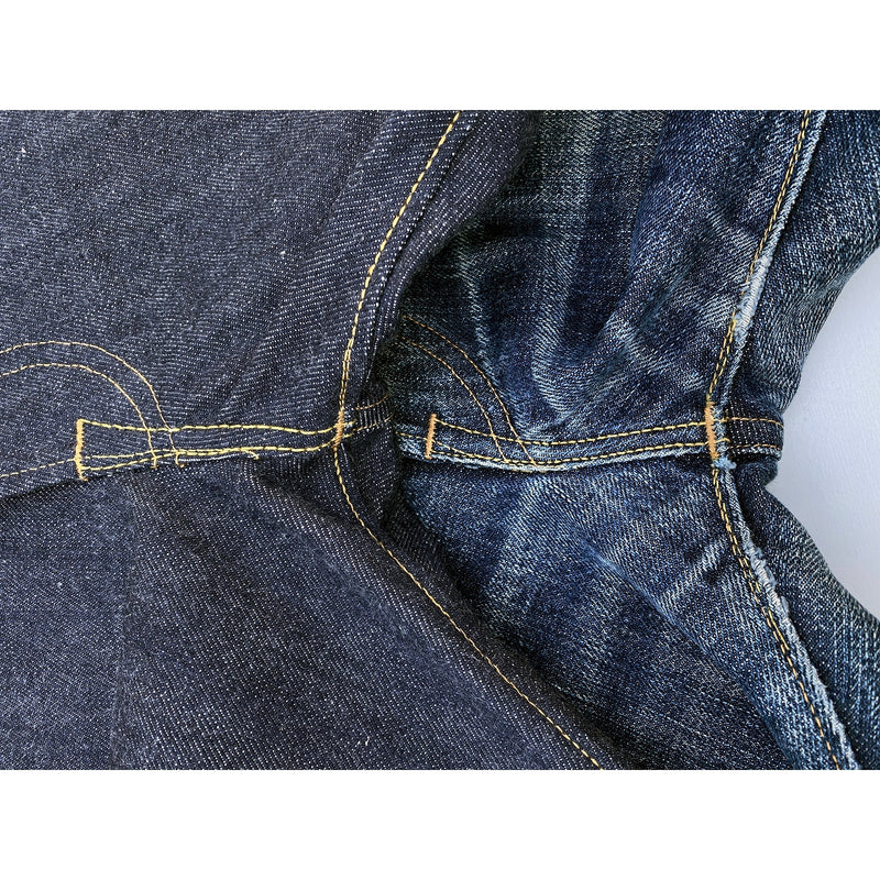 Classic vintage five-pocket jeans pattern.