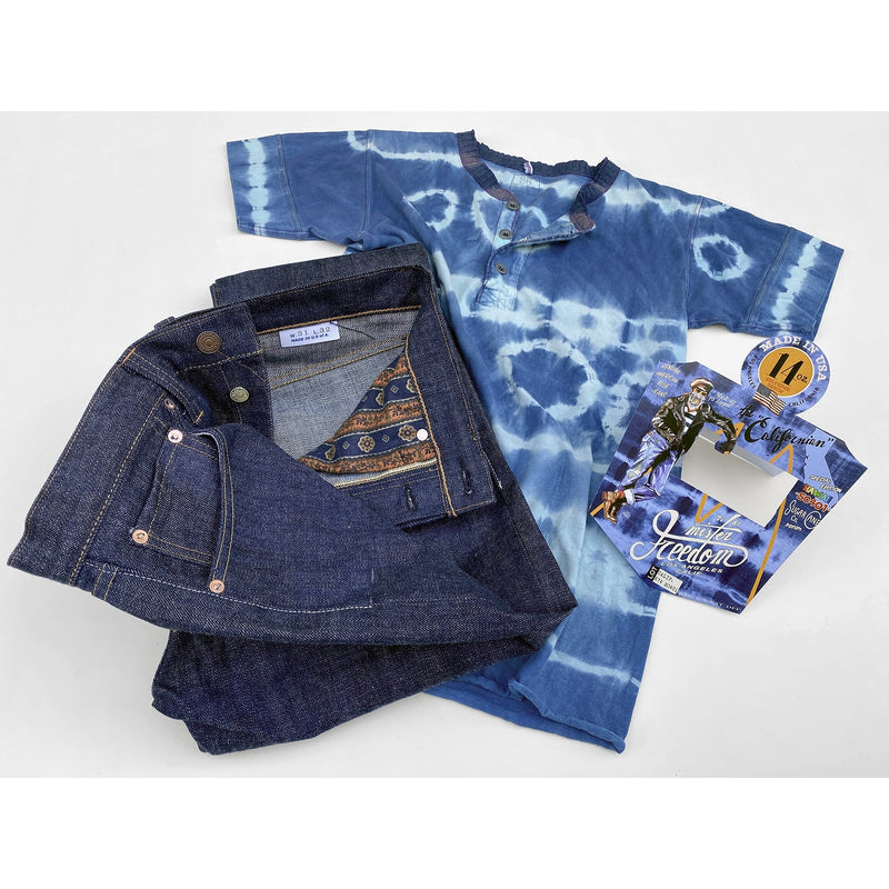"CALIFORNIAN LOT. 674 - ""HAWAII"" DENIM with tie-dye henley and original Californian blue jeans flasher"