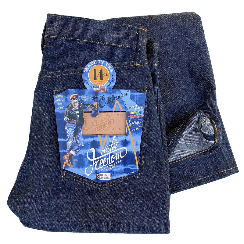 "CALIFORNIAN LOT. 674 - ""HAWAII"" DENIM Original MF® paper pocket flasher (special ""Mask-up ya hippie!"" tie-dye pattern)."