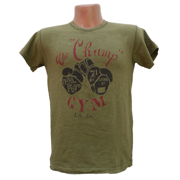 "Mister Freedom® SHOP TEE ""The Champ"" Olive, hand screen-printed with vintage-inspired original graphics on tubular knit jersey STANLEY T-shirts, made in USA"