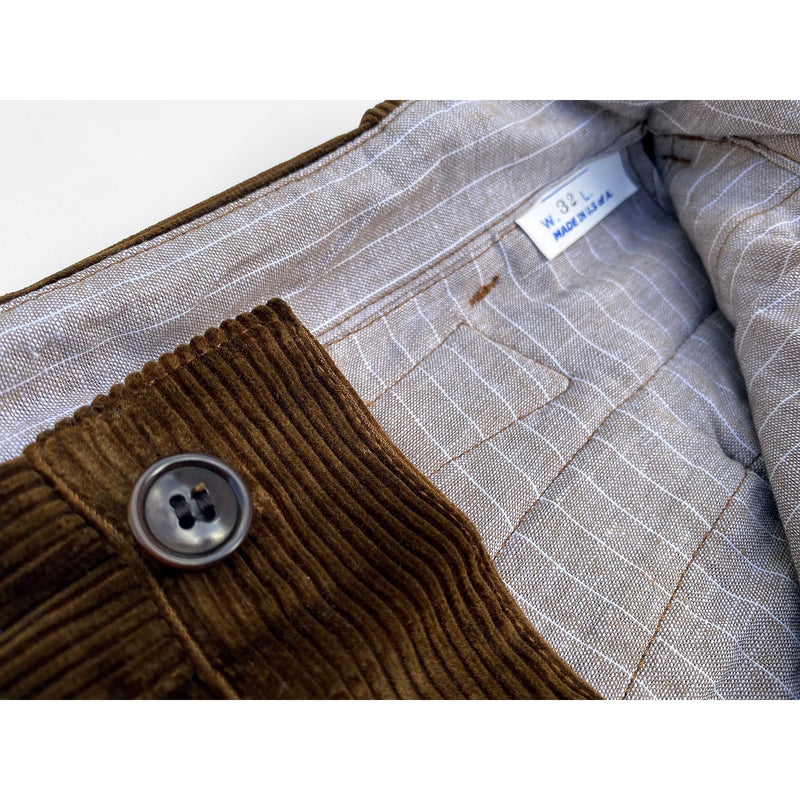 Continental Trousers Corozo wood fly and waist buttons and NOS Oatmeal chambray interior