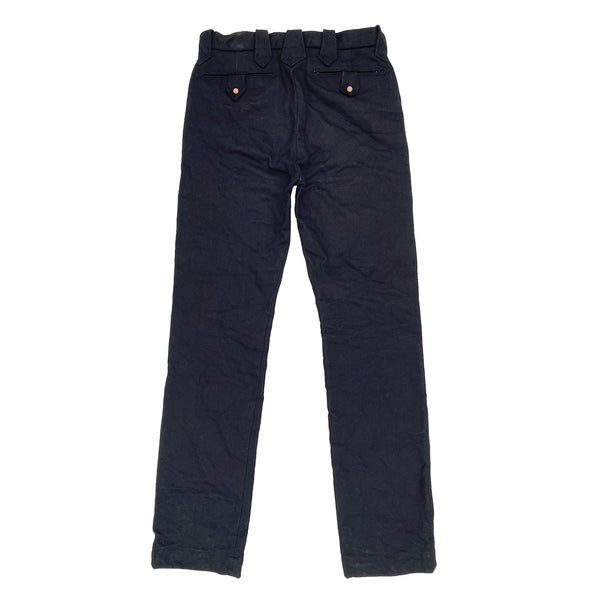 "Hefty 16 Oz. ""Midnight"" denim, dark indigo warp & black weft twill, solid white selvedge ID. Milled in Japan."