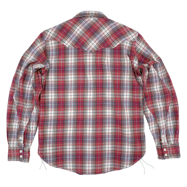 Dude Rancher Shirt, Original 100% cotton woven plaid flannel, 8.25 Oz., selvedge, white and red dominant with indigo yarn highlights, milled in Japan exclusively for mfsc.