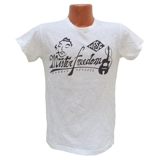 "Mister Freedom® SHOP TEE ""Gypsy Blues"" White, hand screen-printed with vintage-inspired original graphics on tubular knit jersey STANLEY T-shirts, made in USA"