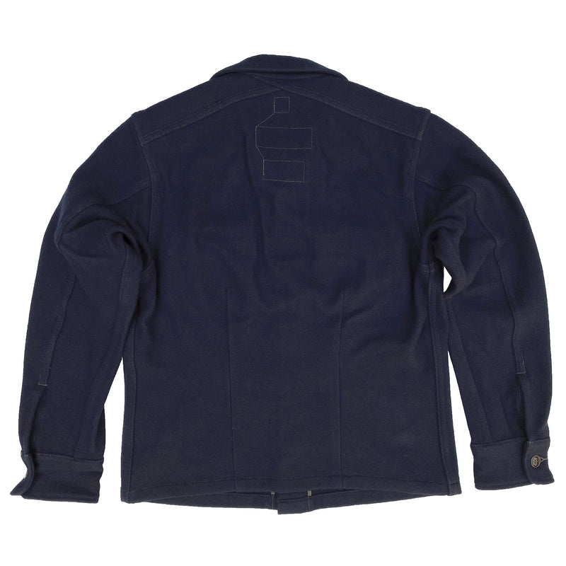 FABRIC: 10 Oz. Melton wool, soft-hand, milled in Japan. Indigo-dyed Melton wool.
