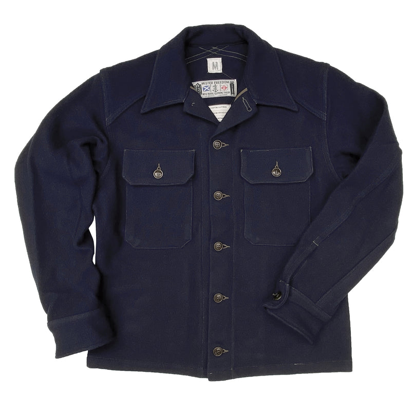 "Mister Freedom® MF51 Field Shirt, melton wool. mfsc FW2020 ""WATERFRONT SURPLUS"", SURPLUS catalog. Made in Japan."