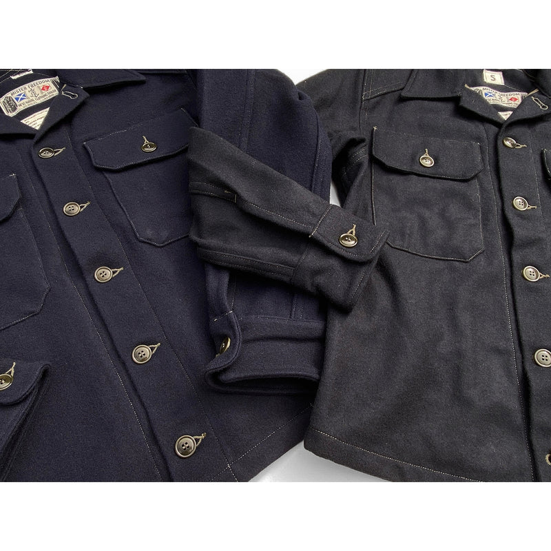 The MF51 Field Shirt is available in two color options: a) Navy blue Melton wool. b) Indigo-dyed Melton wool.