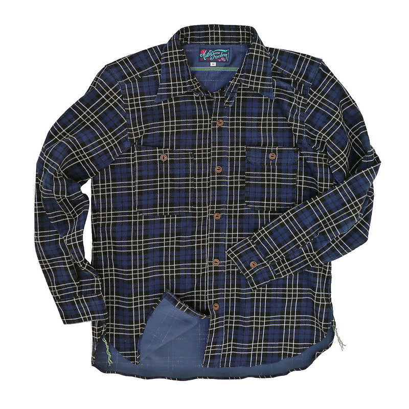 Nixon Shirt - Navy Printed Plaid Corduroy