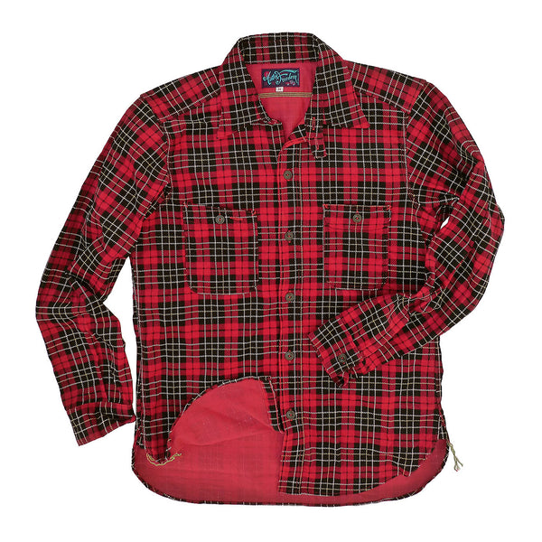 Nixon Shirt - Red Printed Plaid Corduroy
