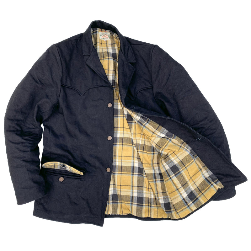 Pioneer Jacket Midnight Lining: 100% cotton woven plaid heavy flannel, mustard/black/natural dominant. Milled in Japan.