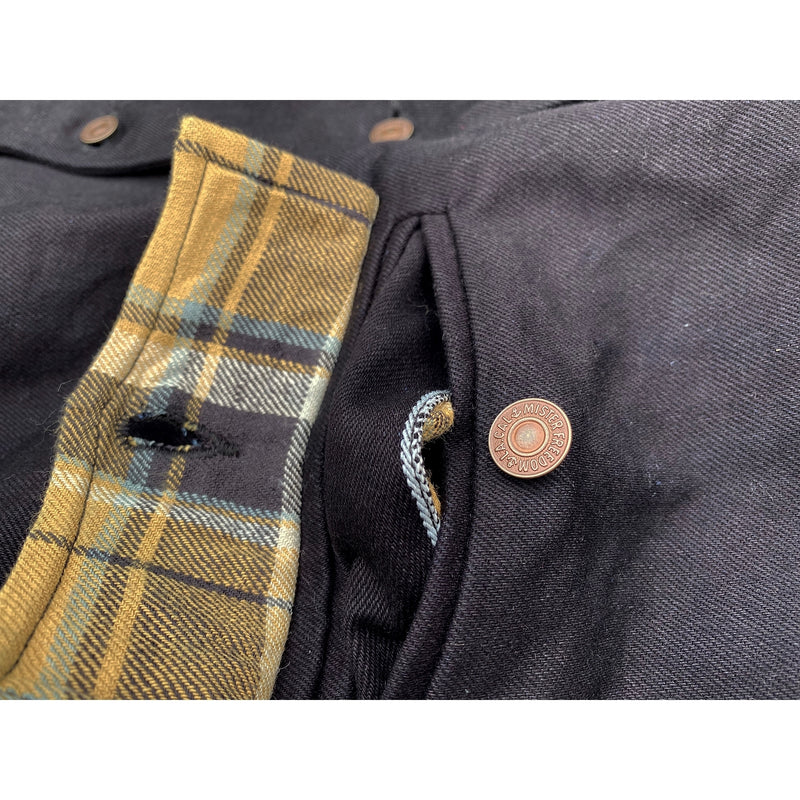 Pioneer Jacket Midnight Scalloped pocket flaps with plaid flannel facing accents