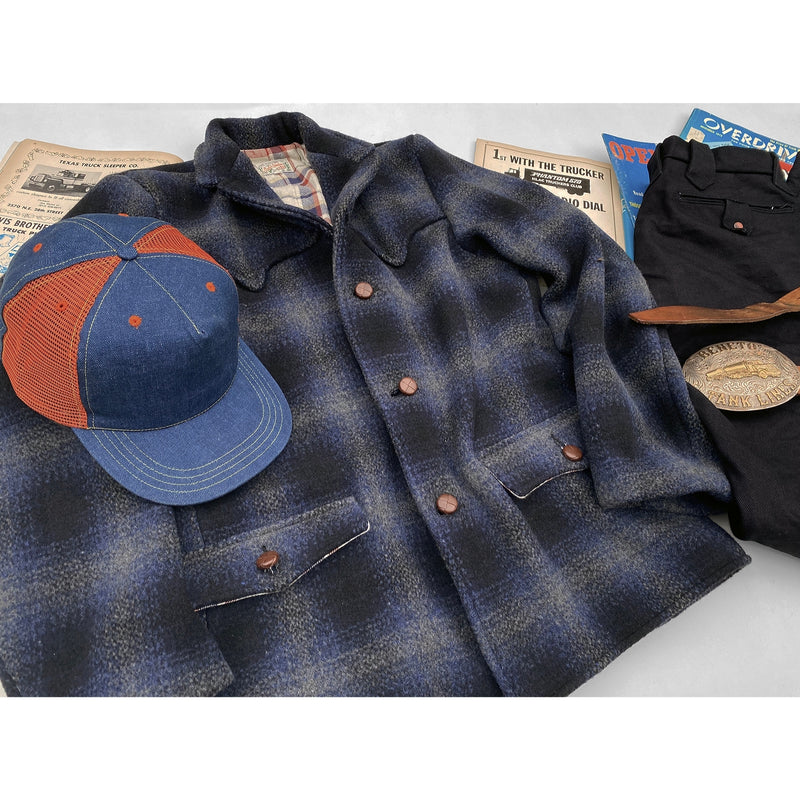 Pioneer Jacket Shadow Plaid, Feed Cap and Deputy Pants Midnight Denim