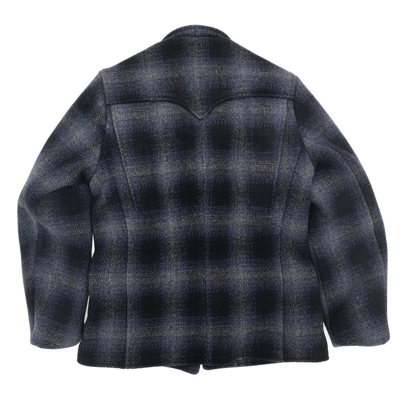 Pioneer Jacket Shell: Heavy 21.25 Oz. soft-hand wool fabric, shadow plaid with dominant black/blue/grey. Milled in Japan.