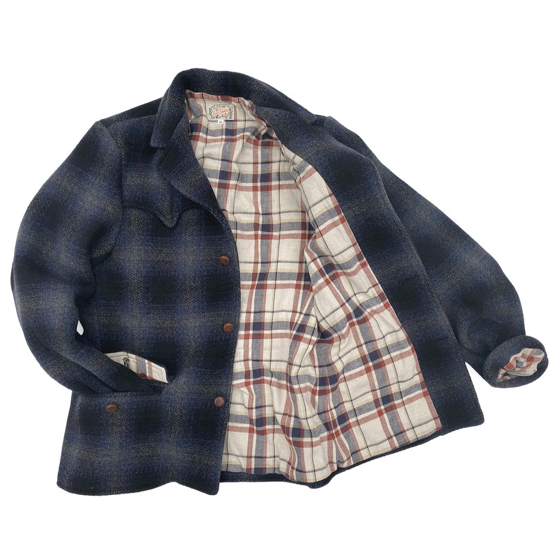 Pioneer Jacket Lining: 100% cotton woven plaid heavy flannel, natural/navy/red dominant. Milled in Japan.