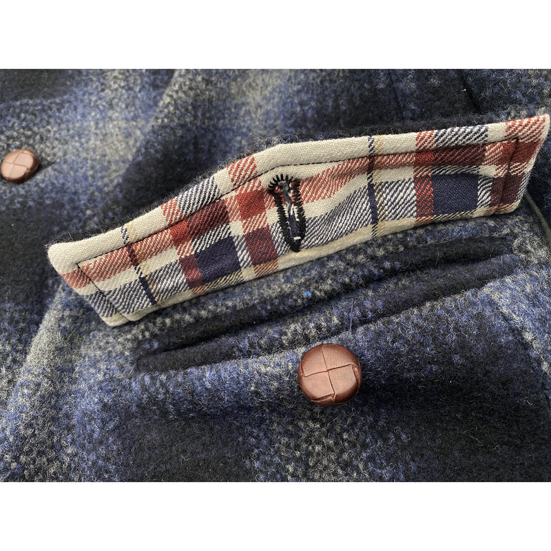 Pioneer Jacket Scalloped pocket flaps with plaid flannel facing accents