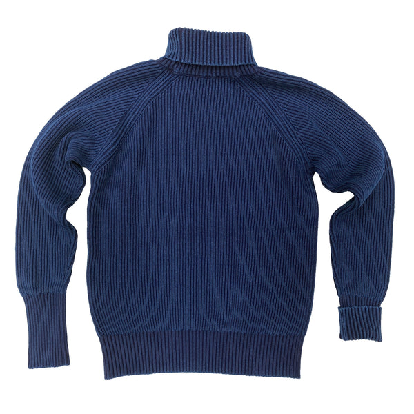 "Privateer Rollneck Indigo 100% cotton 1×1 rib knit, ""fisherman"" rib pattern or ""Brioche"" stitch type. Color - Indigo blue"