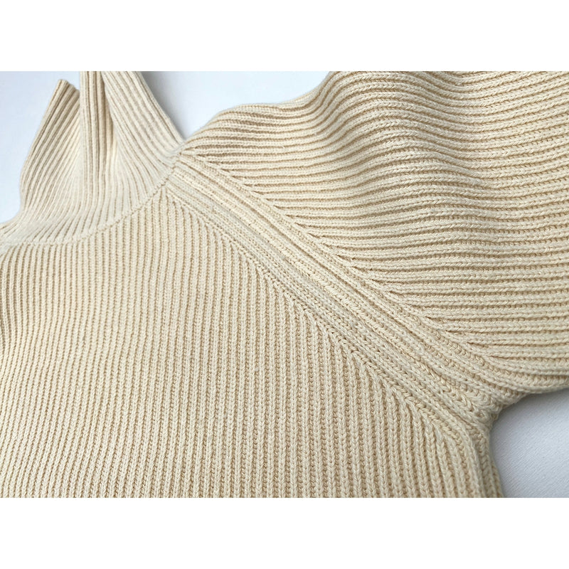 Privateer Rollneck Raglan sleeve pattern with contrast rib pattern mounting