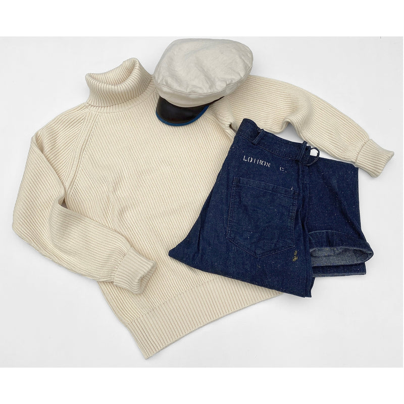 Rollneck Sweater in Ecru with snow denim Swabbies and the Roadsteader Cap.