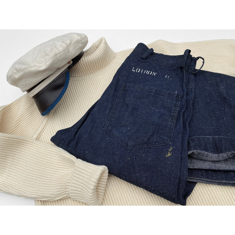 Snow Denim Swabbies dungarees, Privateer Rollneck sweater and Roadsteader Cap