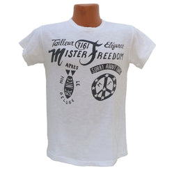 "Mister Freedom® SHOP TEE ""Saigon"" White, hand screen-printed with vintage-inspired original graphics on tubular knit jersey STANLEY T-shirts, made in USA"