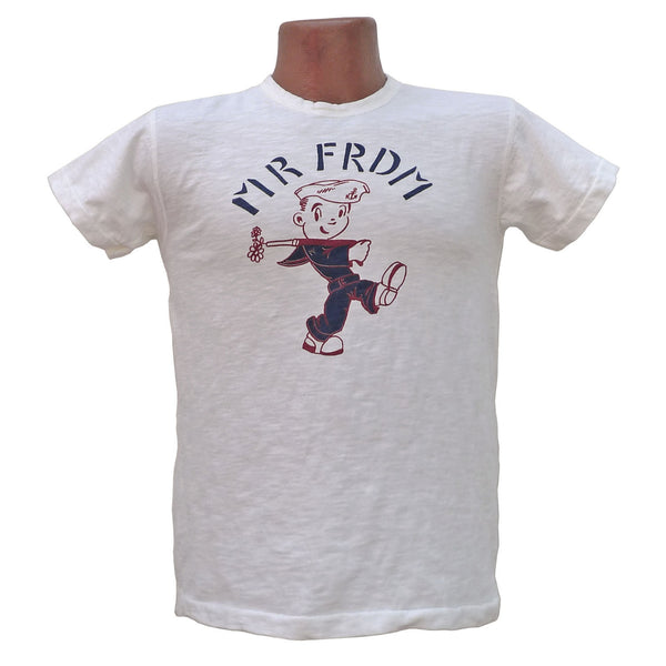"Mister Freedom® SHOP TEE ""Sailor Boy"", hand screen-printed with vintage-inspired original graphics on tubular knit jersey STANLEY T-shirts, made in USA"