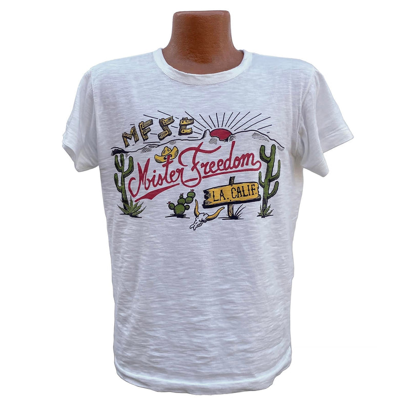 "Shop Tee ""Truckstop"" Original Mister Freedom® pattern, inspired by vintage 1940′s-50′s cotton T-shaped undershirts with All original MF® artwork."