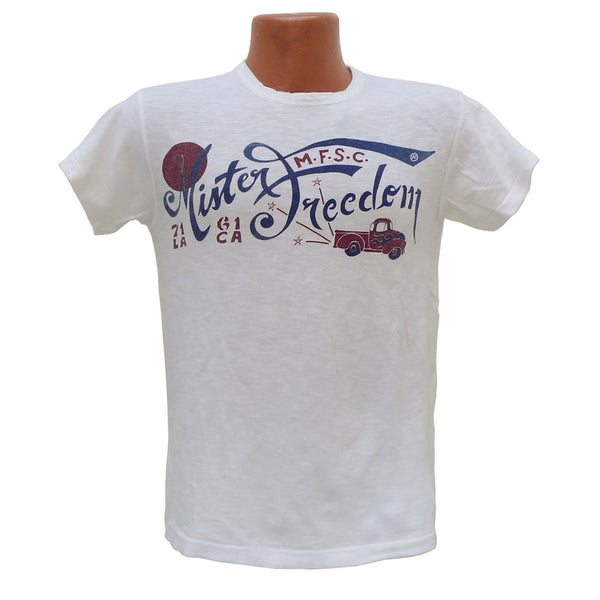 "Mister Freedom® SHOP TEE ""Surplus"" White, hand screen-printed with vintage-inspired original graphics on tubular knit jersey STANLEY T-shirts, made in USA"