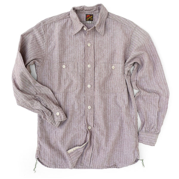 Workman Shirt - Stripe Oatmeal Chambray